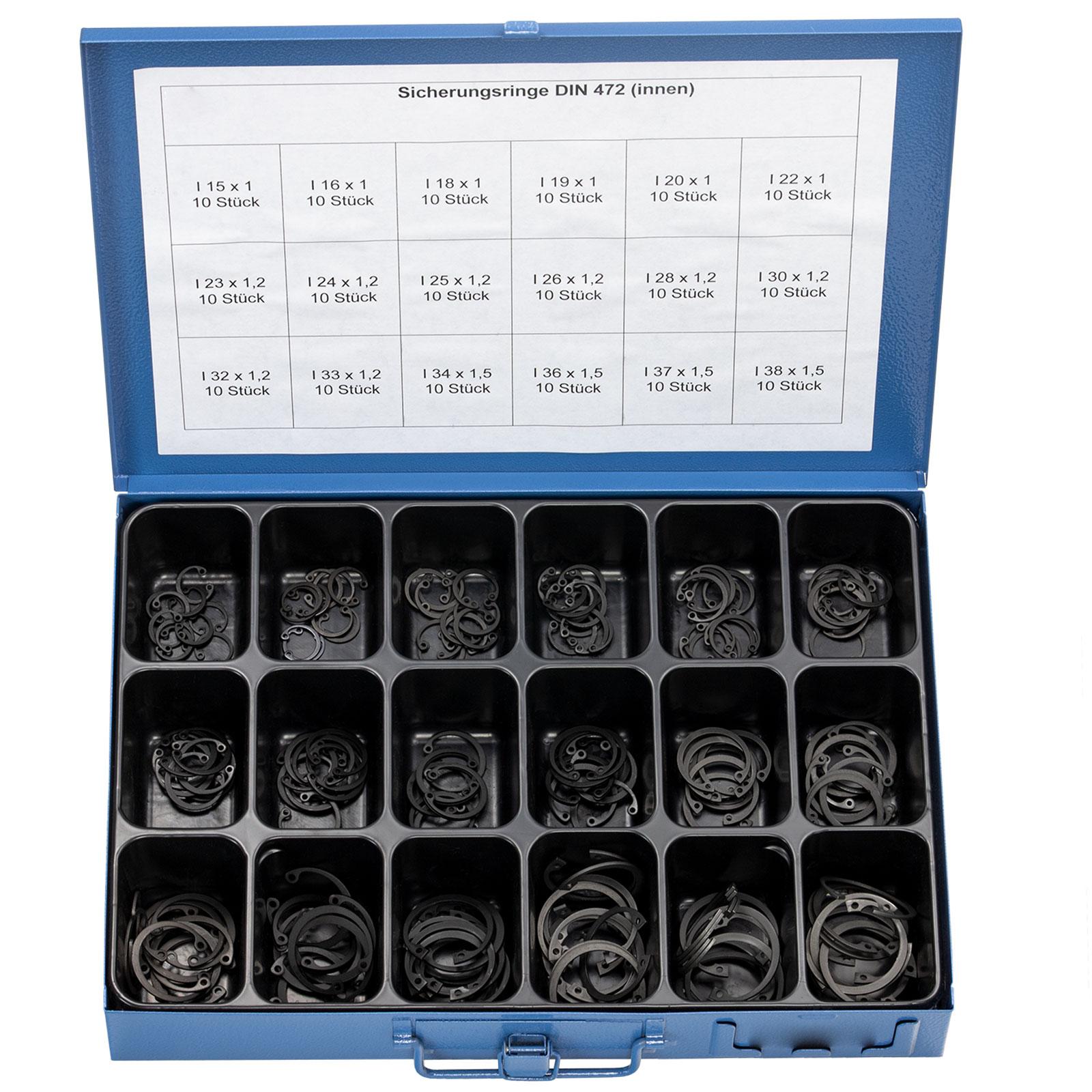 300 Stücke Manganstahl E-Clip Sicherungsringe 1,5-22mm Sortiment Set Seegerringe
