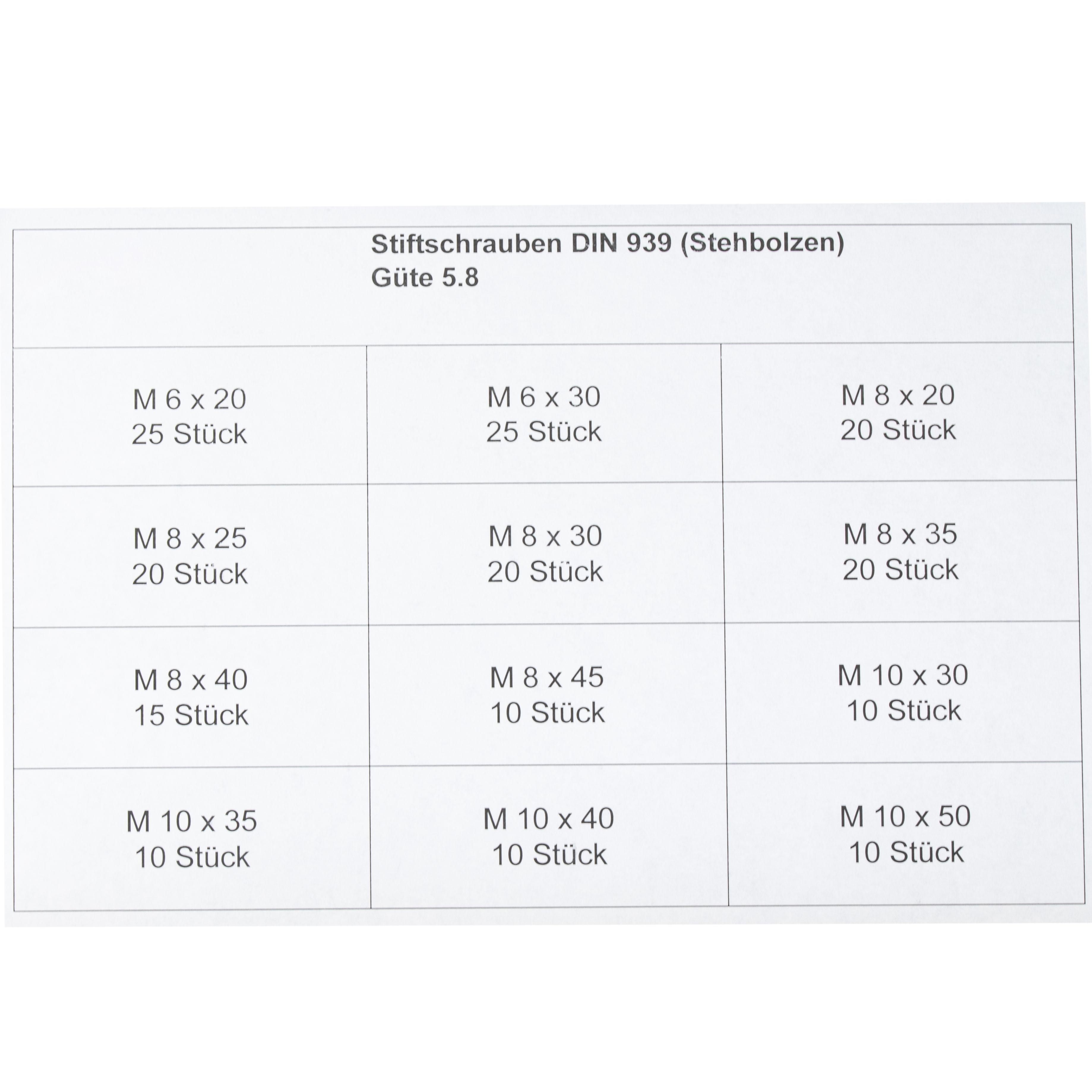 Sortimentskasten Stiftschrauben 195tlg Stehbolzen DIN 939 blank 5.8 M6 M8 M10